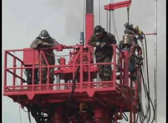 Pink rig drilling to raise money for breast cancer Roughnecks go pink for breast cancer
