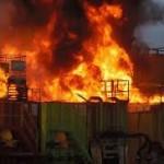 Flowback tanks on fire