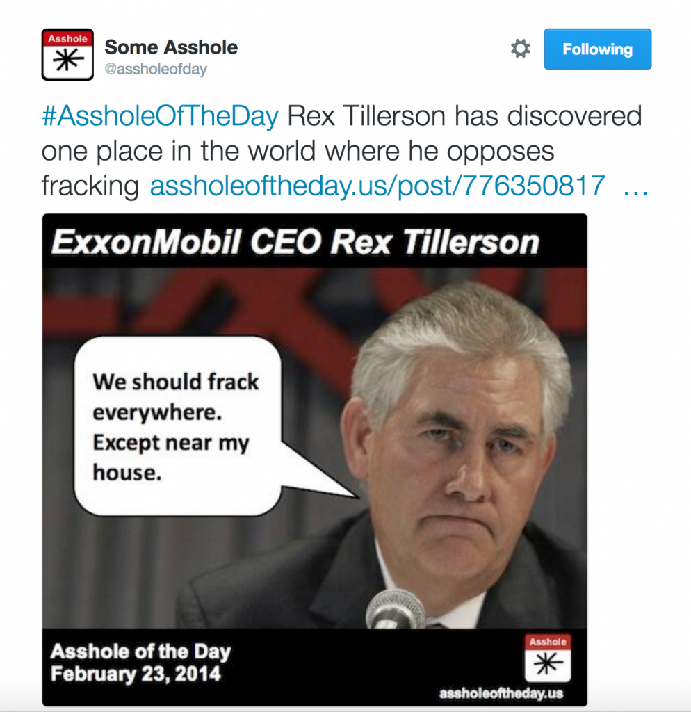 Rex Tillerson Asshole of the Day