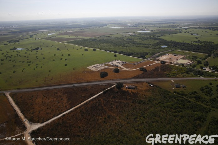 792 and by 80 A hydrofracking installation in Karnes County Texas on June 1, 2015.  The shale oil boom is going strong south of San Antonio on a formation that stretches for about 300 miles across south Texas, one of the most prolific oil patches in the United States.  Photo by Greenpeace