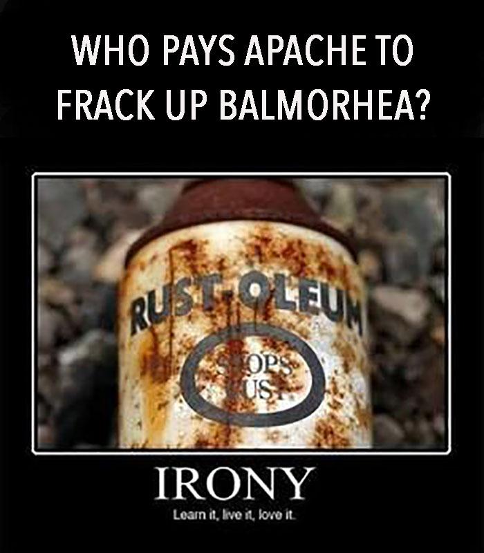 Who pays Apache to frack Balmorhea